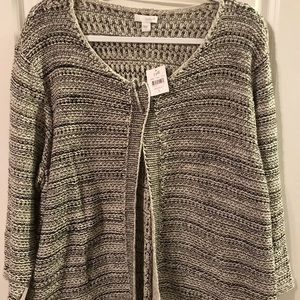 Pure J.Jill Open Front Cardigan Size L Black/White